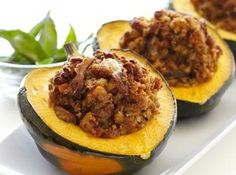 Sausage Stuffed Acorn Squash Recipe. I am going to omit the pinapple and add some quinoa.