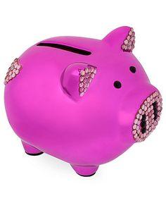 Betsey Johnson Piggy Bank, Metallic Glass Crystal Piggy Bank - All Fashion Jewelry - Jewelry & Watches - Macy's Pink Love, Pink Purple, Hot Pink, Bank Fashion, Fashion Jewelry, Pig Bank, Personalized Piggy Bank, Cute Piggies, This Little Piggy