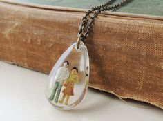Him & Her Necklace Whimsical Figures in a Resin by JustKJewellery, £12.50