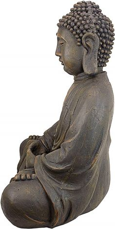Beautiful Fine Art Gift Idea Him Her Oriental Furniture Simple 11-Inch Large Thai Sitting Buddha Statue Figure in Deep Meditation