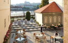 Karel Terrace is a large outdoor terrace leading from the Karel Foyer. It offers views of the river, Prague Castle and Charles Bridge. It is accessible from the Main Building, Lower Level. Function Room, Old Town Square, Prague Castle, Ballrooms, Four Seasons Hotel, Social Events, Event Venues, Terrace, Charles Bridge
