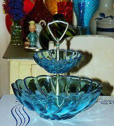 2 tier vintage hazel atlas capri blue swirl beautiful bowl tidbit serving tray ebay