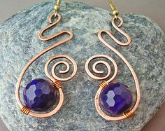 Wire Wrapped Earrings Copper and Violet Agate Gemstone - Handmade Copper Earrings - wire wrapped jewelry handmade