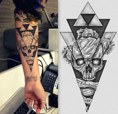 Awesome geometric skull tattoo