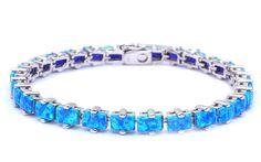 "Radiant Cut Square Lab Blue Opal Tennis Bracelet Blue Opal Bracelet Solid 925 Sterling Silver 7.5"" Lab Blue Opal Tennis Bracelet Gift"