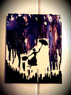 Ready to ship 8x10 canvas of a silhouetted Poppins over London. Dark blues, purples, and some silver crayons melted to create the stormy sky.