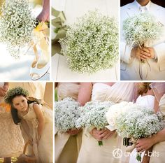 Baby's breath bouquets for the bridesmaids. Add coordinating satin ribbon for the pop of color