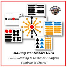 Making Montessori Ours Education Printables: Free Montessori Sentence and Reading Analysis Charts and symbols