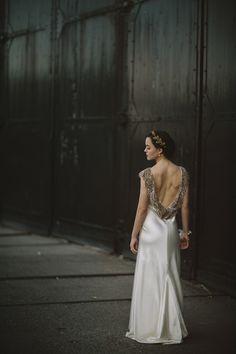 Stunning backless wedding dress by Johanna Johnson, photo by Gabe McClintock | via junebugweddings.com