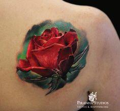 3D rose tattoo - 40 Eye-catching Rose Tattoos   <3