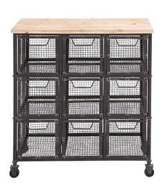 Black Nine-Basket Rolling Storage Cart #zulily #zulilyfinds