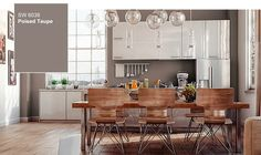 Taupe Living Room Walls 2017 Sherwin Williams Color Of the Year Poised Taupe Taupe Color Schemes, Taupe Paint Colors, Paint Colors For Home, Gray Paint, Wall Colors, Colours, Dining Furniture, Painted Furniture, Furniture Ideas