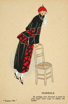 JOUMARD, G. P. (editor) Marsala. Original pochoir #print for Toujours Chic, no.2, #Paris 1921-1922. #fashion #1920s Art Deco Illustration, Fashion Illustration Vintage, Vintage Illustrations, Fashion Illustrations, Fashion 1920s, Fashion Vintage, Fashion Art, Vintage Outfits, Vintage Art