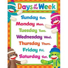 Days of the Week Sock Monkeys Learning Chart from TREND. Teacher-created, award-winning learning products for Pre-K to Grade 9. TRENDenterprises.com