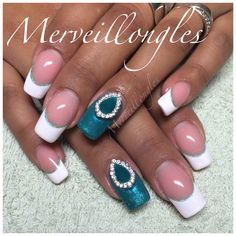 French gel uv émeraude bijoux d'ongles faux ongles