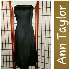 Stunning Cocktail Dress! Stunning cocktail dress from Ann Taylor.  Strapless.  Ribbon trim across top edge and down each front side.  Back zip closure.  Sz 6.  Measurements lying flat armpit to armpit 16in, waist 14in, length armpit to hem 32in.  Excellent condition.  No stains or tears.  From smoke free home. Ann Taylor Dresses Strapless