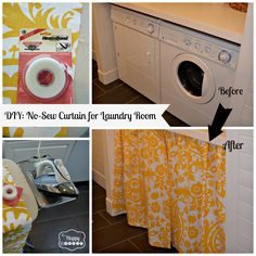 DIY No-Sew Curtain for the Laundry Room at thehappyhousie