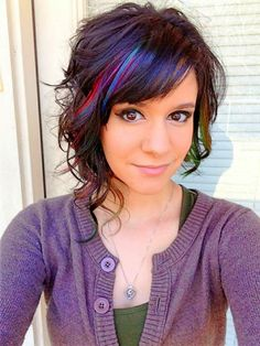 50 More Edgy Hair Color Ideas Worth Trying - hair - Hair Color Asymmetrical Bob Haircuts, Asymmetric Bob, Hair Color Highlights, Peekaboo Highlights, Peekaboo Color, Rainbow Highlights, Purple Peekaboo Hair, Coloured Highlights, Hair Color Purple