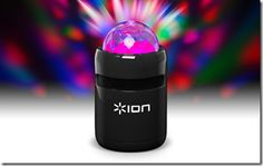 Ion Party Starter and Party Time speaker systems with built-in pulsating light shows. Connects wirelessly to iPad, iPhone and Android devices. Big effect!