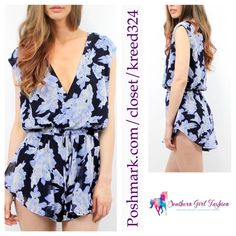 """LIONESS Romper Floral Printed Plunge Neck Lilac Size Large.  New with tags.  $95 Retail + Tax.   Printed floral romper with elastic drawstring waist and crossover v neck.  Lined body.   Measurements for Large: Length: 33.5"""" Bust: 38"""" Waist: 29"""" Hips: 41"""" Inseam: 2""""  ❗️ Please - no trades, PP, holds, or Modeling.    Bundle 2+ items for a 20% discount!    Stop by my closet for even more items from this brand!  ✔️ Items are priced to sell, however reasonable offers will be considered when…"""
