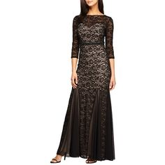 Women's Alex Evenings Embellished Chiffon Inset Lace Mermaid Gown ($239) ❤ liked on Polyvore featuring dresses, gowns, chiffon gowns, floral gown, sequin evening gowns, lace fit-and-flare dresses and sequin gown