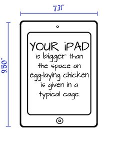 FACT: Egg-laying chickens live out their miserable lives trapped in a space smaller than your iPad.