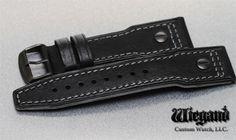 Lum-Tec Watches 24Mm Black W/Gray Stitch Leather Strap W/ Pvd Buckle