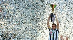 Alessandro Del Piero of Juventus with celebrates with the Italian Serie A trophy following; His last game of Juventus.