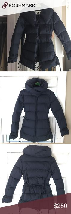 Add Down Icon 10 coat Warm and stylish. Lightweight with a sleek, slim fit. Standup cowl neck blocks the wind while looking chic. Nylon/poly exterior, European Down fill. Dark navy. Worn once, excellent condition. Add Down Jackets & Coats Puffers