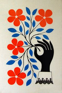 "/ Alexnader Girard ""Flowers and Hand"" textile wall hanging."