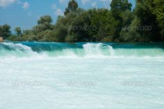Waterfall on the river Manavgat, Turkey ...  Antalya, clean, cold, current, day, falling, fast, flow, foam, fresh, green, interest, landscape, manavgat, mountain, mountains, nature, nobody, noise, river, side, summer, sunny, swift, threshold, turkey, turquoise, water, waterfall