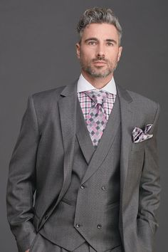 2015 Steven Land Look Book Grey 3 Piece Suit, Three Piece Suit, 3 Piece Suits, Blue Suit Men, Suit Up, Suit Vest, Grey Suits, Tall Men Fashion, Mens Fashion