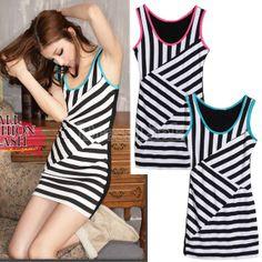 Korea Women's Summer Black-White Stripe Splicing Sleeveless Vest Dres
