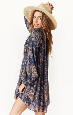 "This  long sleeve boho dress is perfect for breezy days and warm nights! We love it paired with tights and boots or even worn as a beach cover up. Just throw it on with some sandals and you're good to go! ImportedMachine Wash Cold100% RayonFit Guide:Model is 5ft 9 inches; Bust: 33"", Waist: 24"", Hips: 34""Model is wearing a size XSRelaxed fit"