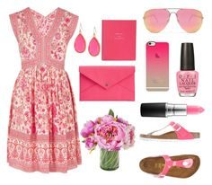 """""""Pink! Pink! Pink!"""" by sewing-girl ❤ liked on Polyvore featuring Rebecca Taylor, Birkenstock, MAC Cosmetics, OPI, Quay, Casetify, Kate Spade, Danielle Nicole and Smythson"""