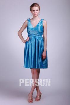 Robe demoiselle d'honneur en taffetas bleu à encolure en V