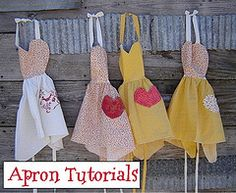 So we've put together a collection of the internet's best DIY Apron Tutorials and Free Apron Patterns to get you back in the mood for wholesome home living! Sewing Tutorials, Sewing Crafts, Sewing Projects, Sewing Ideas, Apron Tutorial, Diy Tutorial, Cute Crafts, Diy Crafts, Cute Aprons