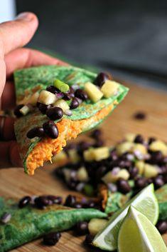 Sweet Potato Quesadillas with Black Bean Pineapple Salsa ~vegan or vegetarian~