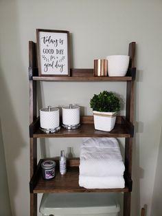 Стеллаж туалет Over the Toilet Ladder Shelf Small Bathroom Storage, Wall Storage, Bathroom Shelves, Storage Ideas, Shiplap Bathroom, Storage Solutions, Bathroom Grey, Bathroom Organization, Bathroom Wall