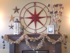 Simple Rustic Christmas fireplace mantle. Hand basted burlap garland strung beneath an eclectic mix of items in various textures, tones and finish. How did I ever not LOVE this style?
