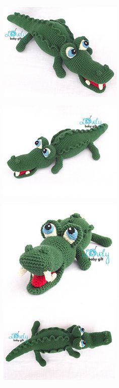 Alligator, crocodile, amigurumi pattern, häkelanleitung, haakpatroon, hæklet mønster, modèle crochet
