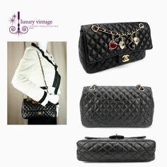CHANEL Valentine Charms Flap Bag 25cm Black Colour Quilted Lambskin With Gold Hardware Good Condition Ref.code-(KSEU-1) More Information Or Price Pls Email  (- luxuryvintagekl@ gmail.com)