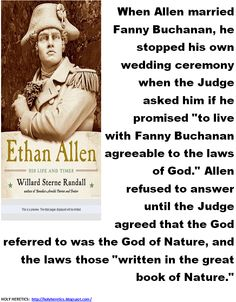 Allen refused to answer until the Judge agreed that the God referred to was the God of Nature, and the laws those written in the great book of Nature.