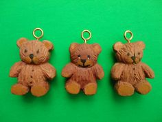 Hand Carved Little Teddy Bear Ornaments by CarvingsByDon on Etsy