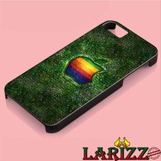 apple logo green cool  for iphone 4/4s/5/5s/5c/6/6 , Samsung S3/S4/S5/S6, iPad 2/3/4/Air/Mini, iPod 4/5, Samsung Note 3/4 Case *005*