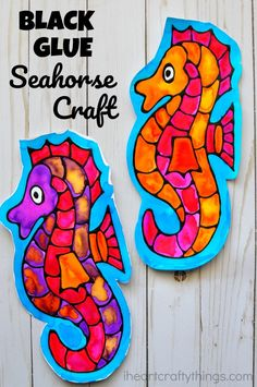 This seahorse black glue craft is a great ocean art project for kids, fun seahorse craft for kids, ocean kids craft and fun summer art project.