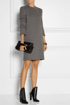 Haider Ackermann Dress| Alexander Wang | Lys polished-leather ankle boots| Maison Martin Margiela Clutch