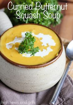 Curried Butternut Squash Soup. #easy #dinner #recipe http://www.highheelsandgrills.com/2014/11/curried-butternut-squash-soup.html
