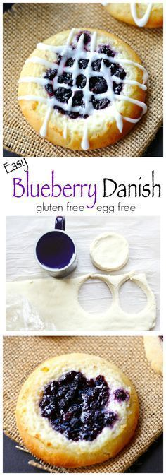Blueberry Cheese Danish (gluten free egg free)- Delicious blueberry and mascarpone cheese danish. You'd never know it's gluten free.