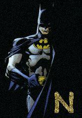 Alfabeto de Batman con letras doradas.